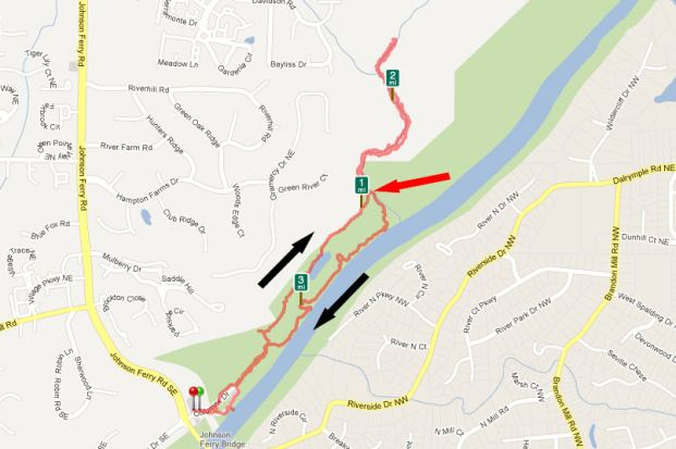 GPS Map of Johnson Ferry Trail