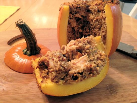 Chicken and Quinoa Stuffed Pumpkin