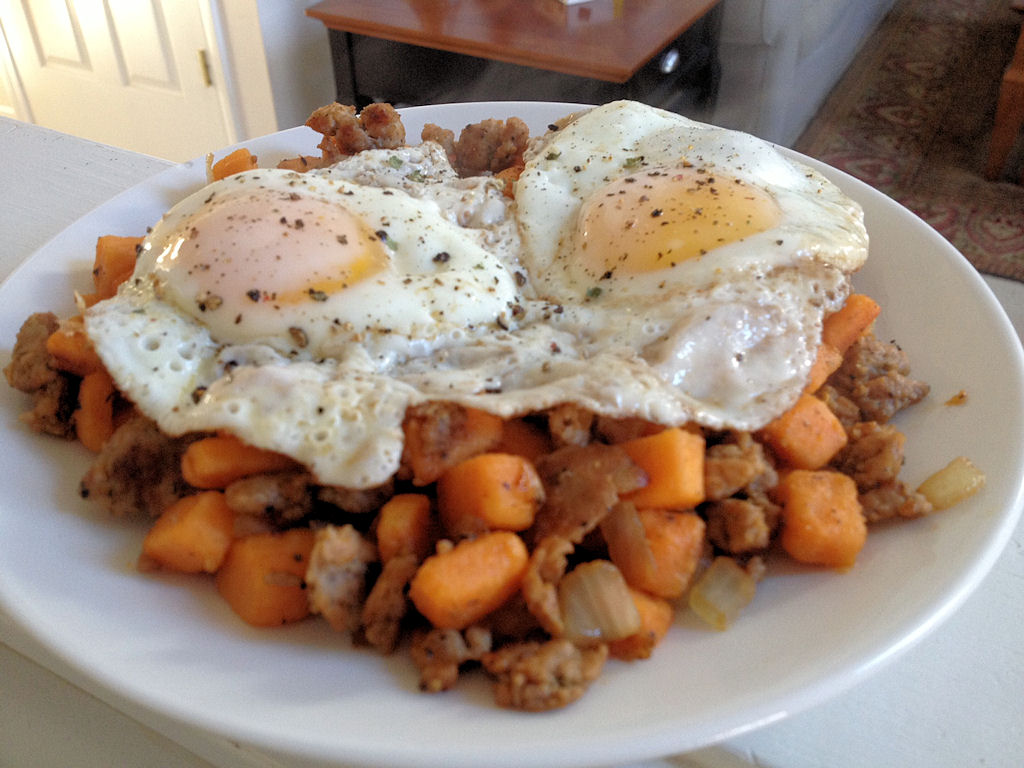 Easy Breakfast Sausage and Sausage-Sweet Potato Hash | Tim Gets Fit